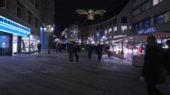 Passing by Königspassage shopping center on Christmas, Nuremberg - stock footage