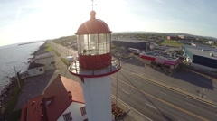 Aerial view of Matane lighthouse, Gaspé Peninsula, Saint Lawrence River, 3 Stock Footage