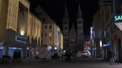 Karstadt mall on Karolinenstraße near St. Lorenz Church on Christmas, Nuremberg Stock Footage