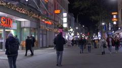 Walking on Breite Gasse street near City-Point mall on Christmas, Nuremberg - stock footage