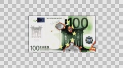 One Hundred Euro Bill Burning in Flames to Ashes in Alpha Channel - stock footage