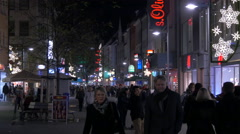 Walking on Breite Gasse, passing by s.Oliver store on Christmas, Nuremberg - stock footage