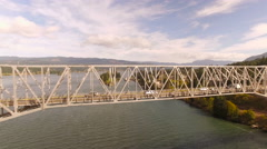 Columbia River Aerial over bridge Stock Footage
