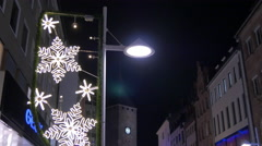 Walking on Breite Gasse, passing by Geox shoe store on Christmas, Nuremberg Stock Footage