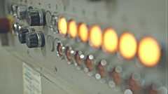 The old operating control panel with yellow buttons. RAW video record Stock Footage