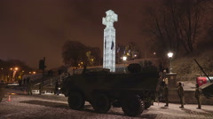 A military tank in front of the Statue of Liberty - stock footage