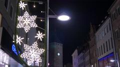 Geox store and Weißer Turm on Breite Gasse street on Christmas, Nuremberg - stock footage