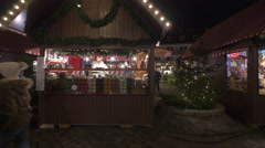 A carousel and small stalls at the Children's Christmas Market, Nuremberg Stock Footage