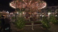 Carousel at the Children's Christmas Market in Nuremberg Stock Footage