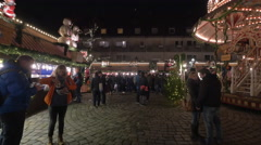 Stalls and a carousel at the Children's Christmas Market, Nuremberg - stock footage