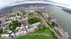 Aerial view of Frontenac Castle and historic downtown in Quebec City on Saint La Stock Footage