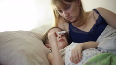 The boy is sick and he has fever - stock footage