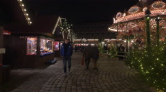 Stalls and a carousel at the Children's Christmas Market, Nuremberg Stock Footage