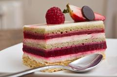 closeup of raspberry cake in a plate - stock photo