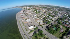 Aerial view over residential area in Rimouski on St Lawrence River 2  Stock Footage