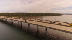 Columbia River Aerial over freeway bridge Stock Footage