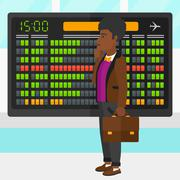 Man looking at schedule board - stock illustration