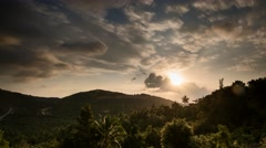 Sunset Time Lapse Jungle Covered Mountain Thailand 4K - stock footage