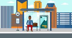 Man waiting for bus - stock illustration