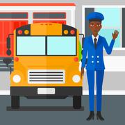 School bus driver - stock illustration