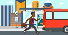 Stock Illustration of Man missing bus