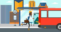 Woman missing bus - stock illustration