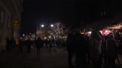 Walking on a street at the Christmas market in Nuremberg Stock Footage