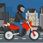 Man riding motorcycle Stock Illustration