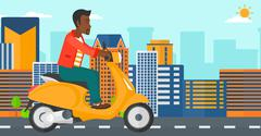 Man riding scooter Stock Illustration