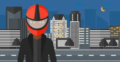 Woman in biker helmet Stock Illustration