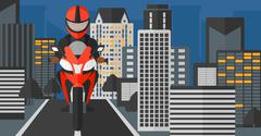 Man riding motorcycle - stock illustration