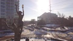 4k Aerial Snow Public Sculpture Musica 012. Part 1 CCW Orbit Close Stock Footage