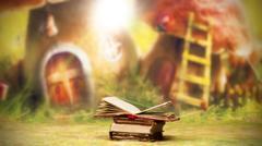 Old, magic, fairytale books - stock photo