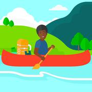 Man canoeing on the river Stock Illustration
