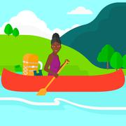 Woman canoeing on the river Stock Illustration