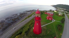 Aerial view of La Martre lighthouse, Gaspé Peninsula , Haute-Gaspésie, 5 Stock Footage