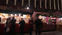 Wooden booths at the Christmas market in Nuremberg Stock Footage