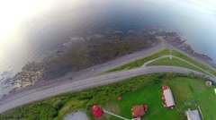 Aerial view of La Martre lighthouse, Gaspé Peninsula , Haute-Gaspésie, 8 Stock Footage