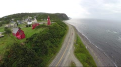 Aerial view of La Martre lighthouse, Gaspé Peninsula , Haute-Gaspésie, Stock Footage