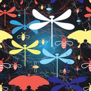 Graphic pattern different insects - stock illustration