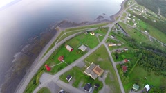 Aerial view of La Martre lighthouse, Gaspé Peninsula , Haute-Gaspésie, 9 - stock footage