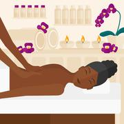 Woman recieving massage Stock Illustration