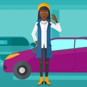 Woman holding keys from new car - stock illustration