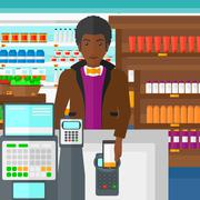 Stock Illustration of Customer paying with his smartphone using terminal