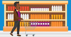 Stock Illustration of Customer with trolley