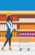 Customer with trolley - stock illustration