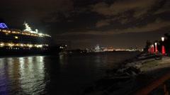 Timelapse. Cruise ship arrive to Miami cruise terminal. 4K video - stock footage