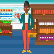 Customer with shopping basket and tube of cream - stock illustration