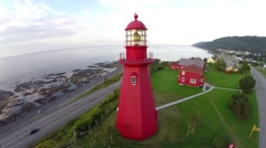 Aerial view of La Martre lighthouse, Gaspé Peninsula , Haute-Gaspésie, 11 - stock footage