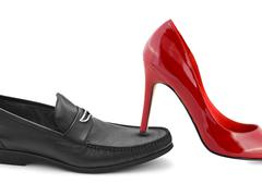 Man and woman shoes - stock photo
